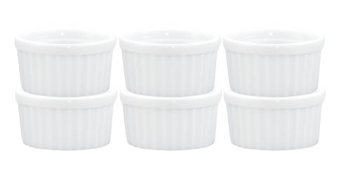 HIC Ramekins, Fine White Porcelain, 2.5-Inch, 2-Ounce Capacity, Set of 6 (Porcelain In Oven Bowl)