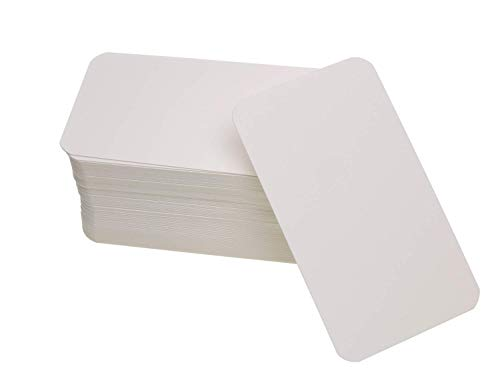 Penta Angel 100 Pcs Mini Kraft Paper Blank Gift Notes Cards DIY Craft Small Word Business Message Cards (White) (Note Business Cards)