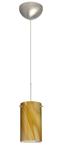 - Besa Lighting 1XC-4404HN-SN 1X50W Gy6.35 Stilo 7 Pendant with Honey Glass, Satin Nickel Finish