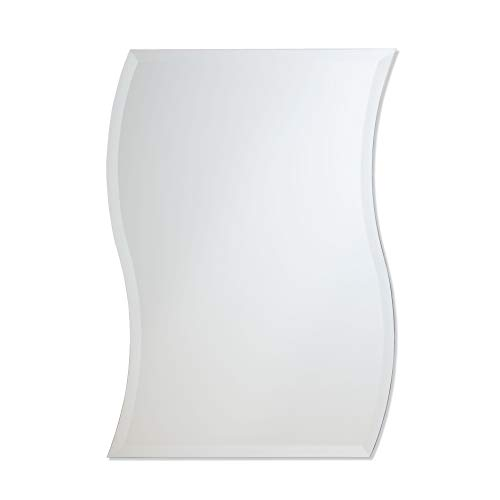Frameless Beveled Wall Mirror Wave Style Bathroom, Bedroom, Accent Mirror
