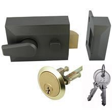 dlocking Night Latch 40mm Grey with Brass Cylinder + 2 Keys by Dale Hardware (Deadlocking Cylinder)