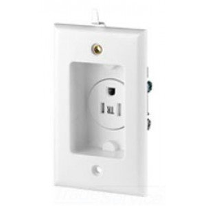 3-Wire 125-Volt Tamper Resistant Recessed Duplex Receptacle 2-Pole, White ()