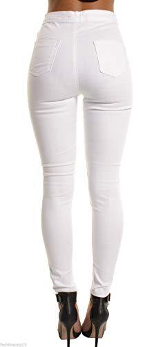 DAMENGXIANG Jeans du Rparation Corps Genou Femme des lastique Trous Serrs White Nouvelle Le Eqfrq