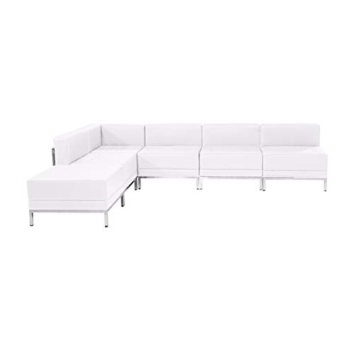 Offex Contemporary Melrose White Leather Sectional Configuration - 6 Pieces