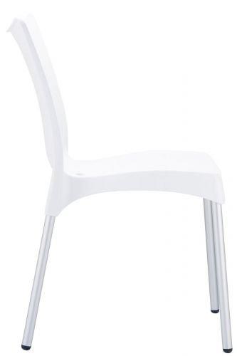 CLP XXL stackable garden chair JULIETTE, plastic and aluminium, maximum weigth 160 kg white
