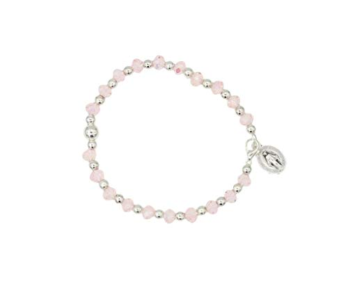 (Christian Living Stretch Crystal Bead Stretch Rosary Bracelet with Clasp and Miraculous Medal Pink)