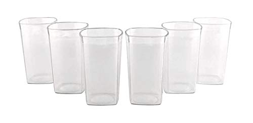 THW Unbreakable Break Resistant Drinking Glass Square   Polycarbonate, 300 ml  6 Piece Set