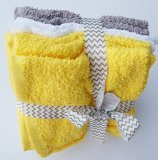 Wash Cloth Bundle - Yellow Gray and White - 8 Count