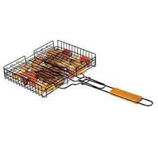 Ad Fresh Non Stick Barbecue Square Wire Grill Pan Basket with Wooden Handle