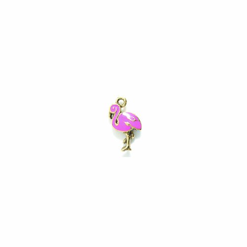 Shipwreck Beads Pewter Epoxy Flamingo Bird Charm, Antique Gold/Pink, 12 by 21mm, 2-Piece