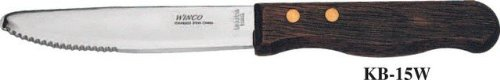 Winco Jumbo Round Tip Steak Knife with Wood Handle, 5 inch - 12 per case.