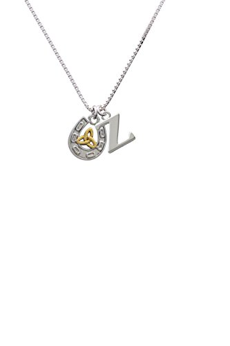 Horseshoe With Gold Tone Trinity Knot   Capital  Z  Initial Necklace
