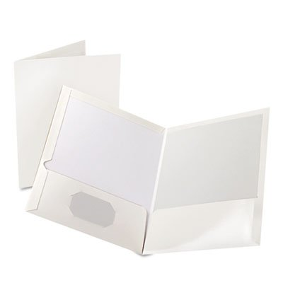 High Gloss Laminated Paperboard Folder, 100-Sheet Capacity, White, 25/Box, Total 125 EA by Oxford