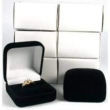 USA Best Supply 6 Black Flocked Square Ring Gift Boxes Jewelry Displays