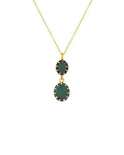 (SIVALYA 18K Gold Over Sterling Silver Necklace with Green Onyx and Crystals Pave Pendant - Great Gift for Women)