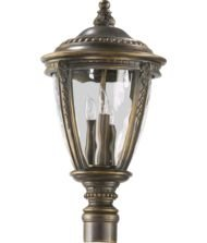 Quorum International 7325-3-39 Post Mount Lights with Clear Hammered Shades, Bronze (Patina Outdoor Pier Mount)