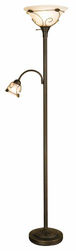 "Normande Lighting JM1-884 100-Watt Incandescent Torchiere Floor Lamp with 40-Watt Side Reading Lamp, 71"" x 10.7"" x 15.5"", Black"