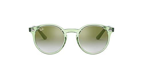 Ray-Ban Junior Kid's RJ9064S Round Kids Sunglasses, Transparent Green/Green Red Gradient Mirror, 44 mm (Kids Sunglasses Mirror)