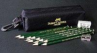 Faber-Castel FC800028 Castell 9000 15 Piece Graphite Pencil Set with Bag, Black by Faber Castell