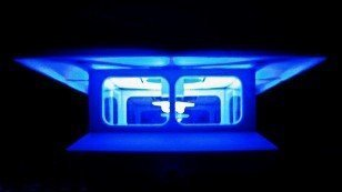 4-Pack White 4 x 4 Fence Post Cap Solar Lights With BLUE LEDs by Atlantic Solar by Atlantic Solar