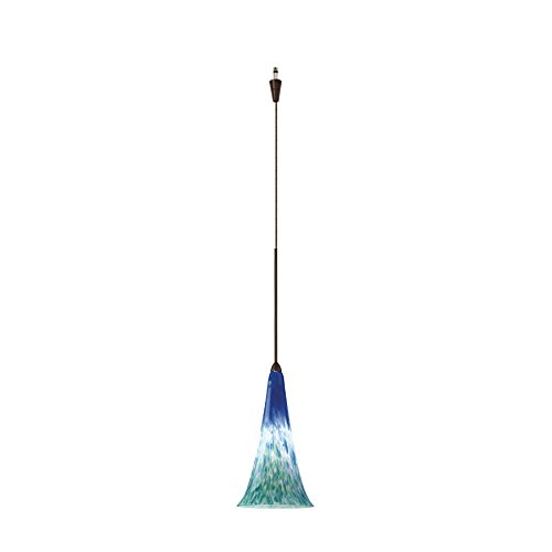 Quick Connect Pendant - WAC Lighting QP614-BG/DB Passion Quick Connect Pendant with Blue/Green Shade and Dark Bronze Socket Set