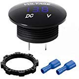 Mini Waterproof Voltmeter with LED Digital Display, Voltage Meter DC 12V-24V Universal for Car/Motorcycle/Truck - Blue