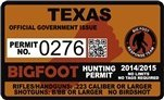 "Texas Bigfoot Hunting Permit 2.4"" x 4"" Decal Sticker"