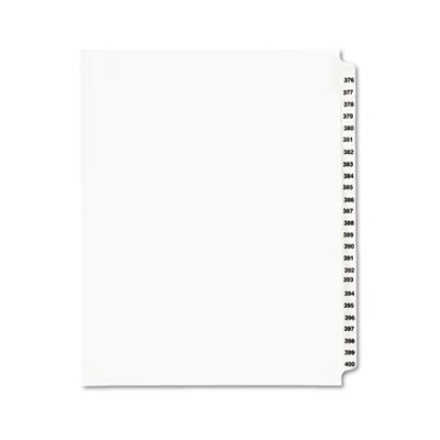 Avery Products - Avery - Avery-Style Legal Side Tab Divider, Title: 376-400, Letter, White, 1 Set - Sold As 1 Set - Rip ProofTM reinforced, dual-sided, laminated tabs make it -