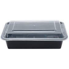 Tri Pak - Cpc NC888d 38 oz Black Plastic Container with Translucent Lid44; 6 x 8.5 x 2 in. - Case of 150-3 Case of 50