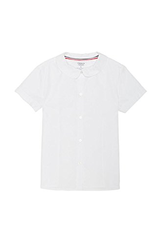 French Toast Big Girls' Short Sleeve Peter Pan Collar Blouse, White, 7