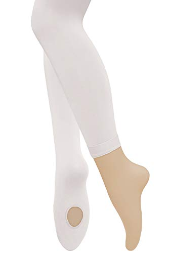 Dancina Footless Tights for Girls Teenagers' Ballet Training Practice Leggings Women's M/L White x2 ()