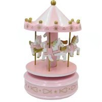 Wood Candy Box - Birthday Cake Decoration Merry-Go-Round Musical Box Carousel Horse Music Box(Pink)