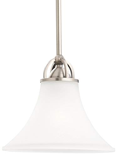 Sea Gull Lighting 61375-965 Single-Light Mini-Pendant, Satin Etched Glass Shade, Antique Brushed Nickel