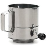 RSVP SIFT-3CR Endurance Stainless Steel Crank Style Flour Sifter, 3 Cup