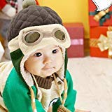 Jshuang Children's Pilot Crochet Earflap Hats,Baby Hats Cap Beanie Winter Autumn,Fit for 1 Year -5 Years Old Children (Coffee) (Coffee)