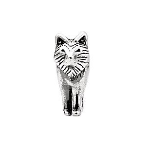 Argent sterling 15 x 12 mm Loup Charm perle