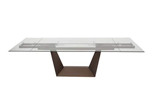 Limari Home LIM-75382 Sajeva Collection Modern Style Glass Extendable Rectangular Dining Table with Metal Base Clear & Brown