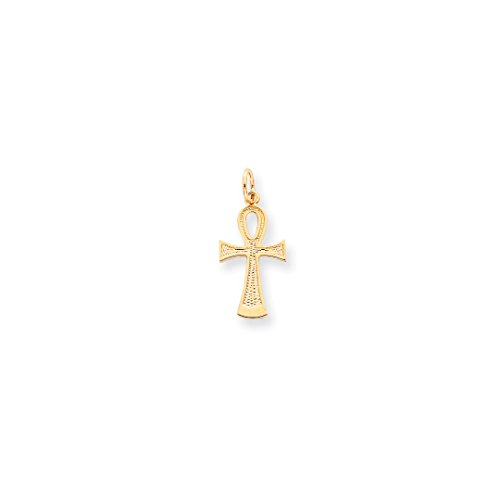 ICE CARATS 10kt Yellow Gold Solid Flat Backed Ankh/egyptian Cross Religious Pendant Charm Necklace Ankh Fine Jewelry Ideal Gifts For Women Gift Set From Heart