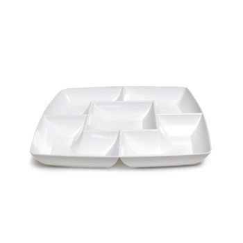 White Square Plastic Compartment Serving Tray 12-inch