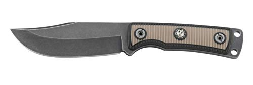 CRKT Ruger Powder-Keg Fixed Blade Knife with Sheath Hunting and Outdoor Knife, Black Clip Point Blade, Textured Rubber Handle Scales, Leather Sheath R1502K