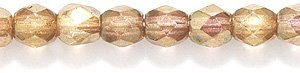 Preciosa Czech 4-mm Fire-Polished Glass Bead, Faceted Round, Picasso Pinkish Gold, - Glass Beads Round Marbled