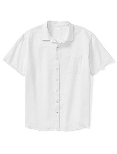 Amazon Essentials Men's Big & Tall Short-Sleeve Linen Cotton Shirt fit by DXL, White, 3X Tall (Mens 3xlt Shirts Short Sleeve)