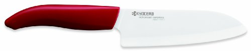 Kyocera Advanced Ceramic Revolution Series 5-1/2-inch Santoku Knife, Red Handle, White Blade (Blade Ceramic White)