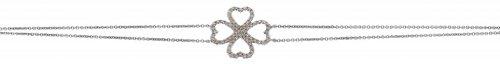 0.25CT Certified G/VS2 Round Brilliant Cut Four Heart Shape Diamond Double Bracelet in 18K White Gold