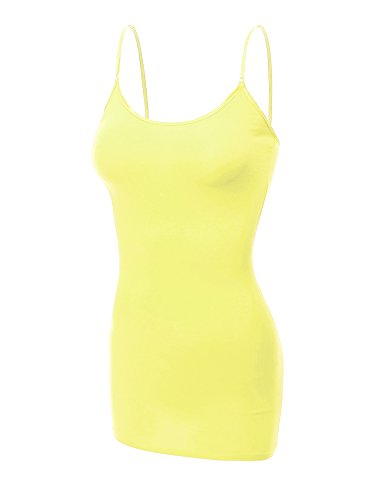 Emmalise Women's Basic Casual Long Camisole Adjustable Strap Cami Layering Top, 2XL, Neon Yellow (Neon Yellow Body)