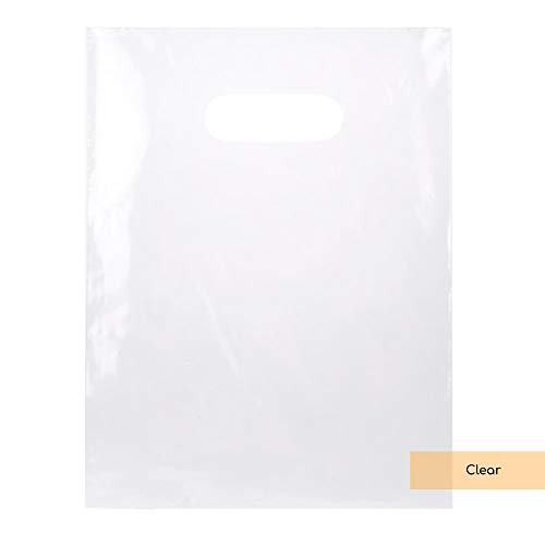 ClearBags LDPE Solid Handle Bag | Merchandise Bag With Die Cut Handles Tear Resistant Strength | Perfect for Trade Shows, Retail, and More (100 Bags, ()