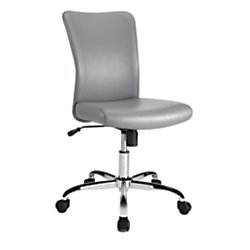 rklee Faux Leather Task Chair, Gray/Chrome Silver ()