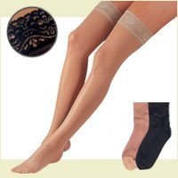 FLA Activa Sheer Therapy Hosiery, 15-20 mmHg Thigh Highs Lace Top - Size B - Nude by FLA Orthopedics