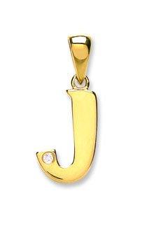Or jaune 9 carats-Diamant-Pendentif initiale 0.01ct J