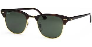 ray ban rb3016  ray ban rb 3016 w0366 clubmaster mock tortoise / green crystal lens